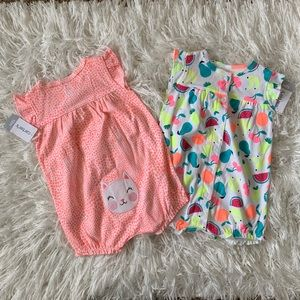 NWT CARTER'S Baby Girl Clothes Snap-Up Romper 12M